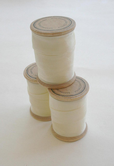 Rayon Binding Tape - 1/2 Inch Wide - 10 Yds Cream on Wooden Spool - Packaging and Gift Ribbon