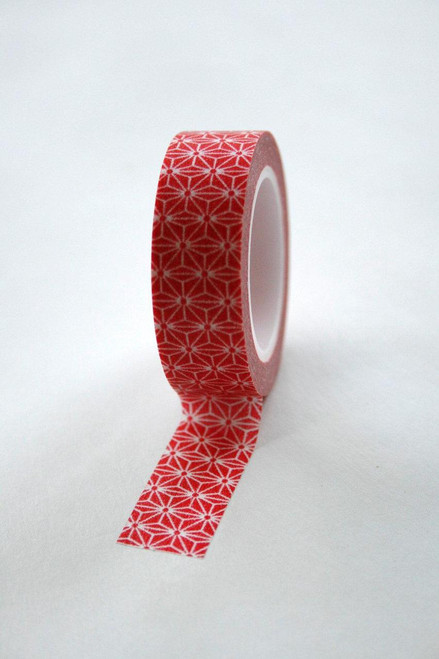 Washi Tape - 15mm - Bright Red and White Geometric Pattern - No 342