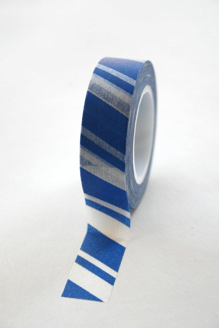 Washi Tape - 15mm - Blue and White Candy Cane Stripe - No 146