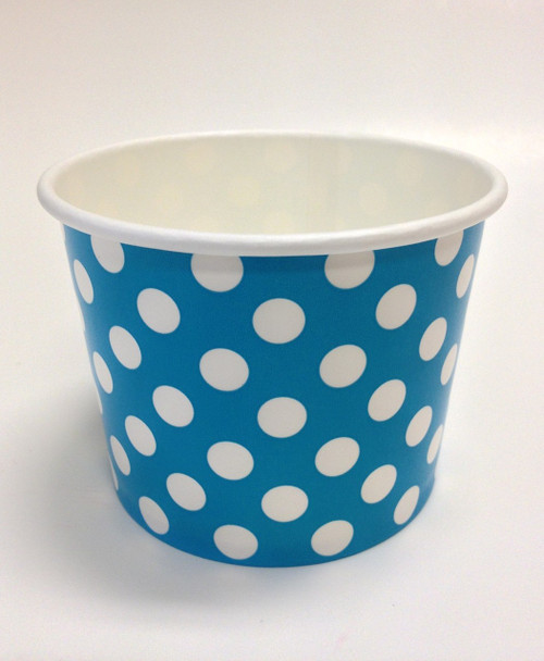 Ice Cream Cups Bright Blue Polka Dots 16 oz. Paper