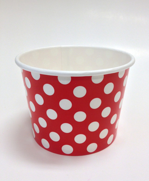 Ice Cream Cups Red Polka Dots 16 oz. Paper