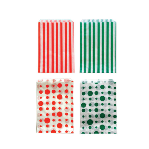Holiday Striped and Dots Bags Green/Red
