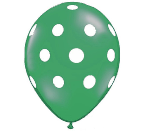 Premium Large Round Latex Party Balloons - Emerald Green Polka Dot