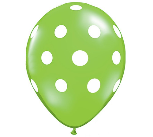 Premium Large Round Latex Party Balloons - Lime Green Polka Dot