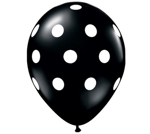 Premium Large Round Latex Party Balloons - Black Polka Dot