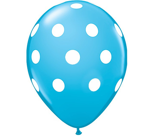 Premium Large Round Latex Party Balloons - Robin's Egg Blue Polka Dot