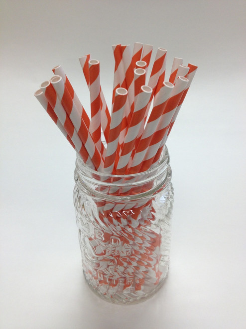 Tangerine Stripe Paper Drinking Straws - made in USA