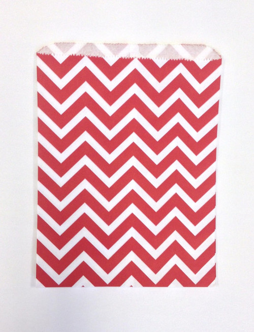 Merchandise Bags - Flat Paper - Red Chevron  6.25 x 9.25 Inches