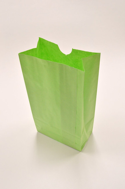 Lime Green Flat Bottom Paper Merchandise or Lunch Bags - 4.25 x 2.375 x 8.18 Inches