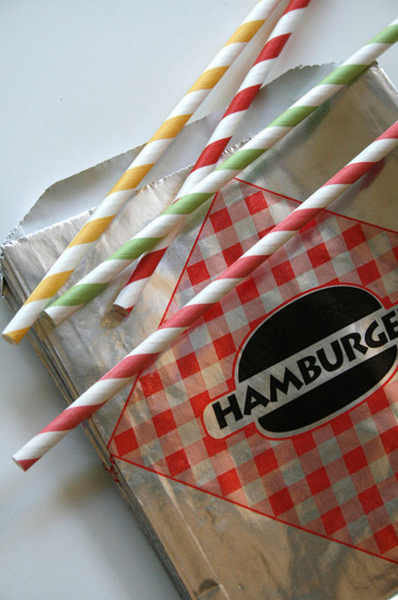 Vintage Style Foil Paper Lined Jumbo Hamburger Bags - Red and Black Checkered - Gusseted