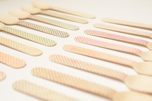 Wooden Utensils - 25 Pieces - Eco Natural - Tiny Dots in Color Choice