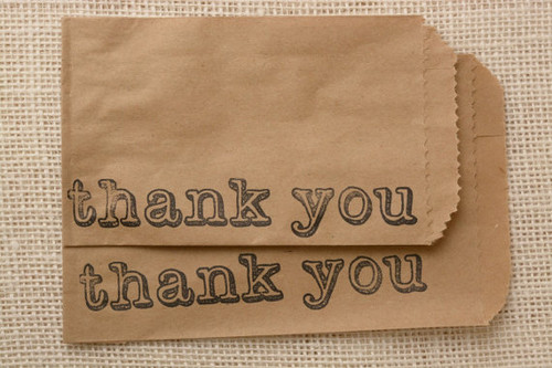 Thank You Favor or Merchandise Bags - Recycled Brown Kraft