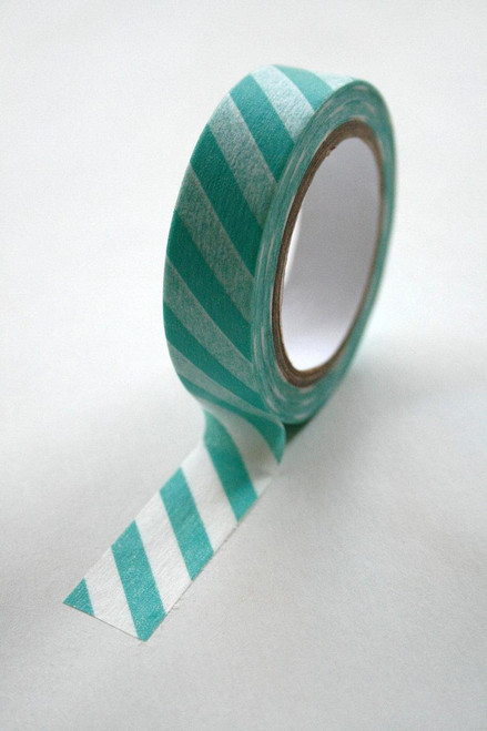 Washi Tape - 15mm - Aqua and White Diagonal Stripe - No. 515