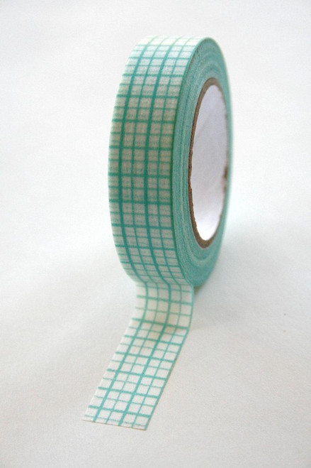 Washi Tape - 15mm - Blue Engineering Graph Paper Grid Design on White - No. 58
