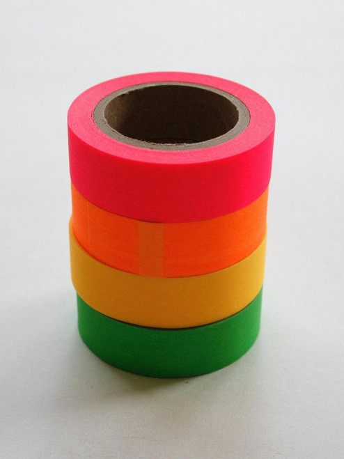 Washi Tape Set - 15mm - Neon Combination Pink Orange Yellow Green - Four Rolls - No. 19/20/21/22
