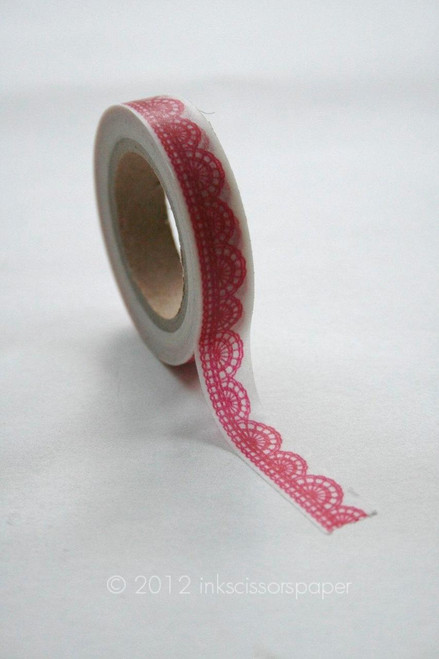Washi Tape - 10mm - Hot Pink Scalloped Lace Pattern - No. 250