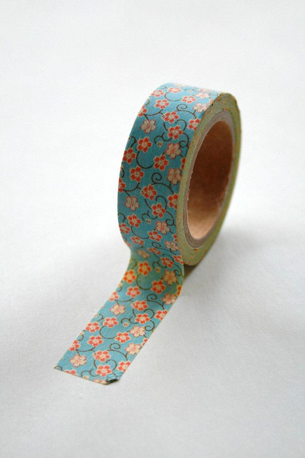 Washi Tape - 15mm - Blue and Orange Floral - No. 228