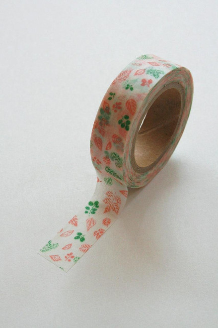 Washi Tape - 15mm - Coral and Green Leaves on White - No. 240