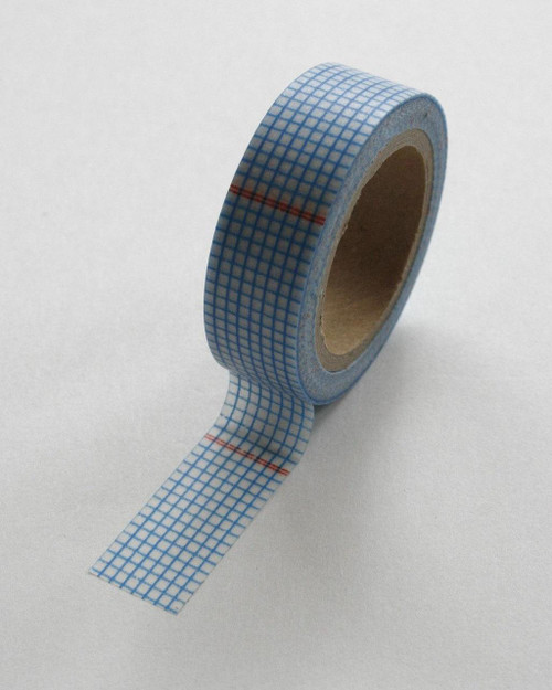 Washi Tape - 15mm - Deep Blue and Red Graph Paper Grid Design on White - No. 55
