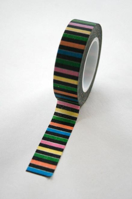 Washi Tape - 15mm - Black Multi Color Horizontal Stripe - No. 105