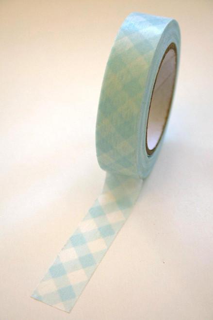 Washi Tape - 15mm - Baby Blue Gingham Design on White - No. 69