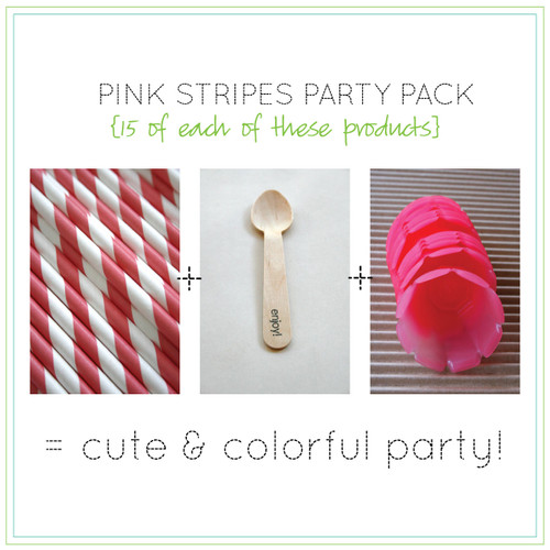 Party Pack - Pink Tulip Ice Cream Cups - Pink Straws - Stamped Wooden Spoons