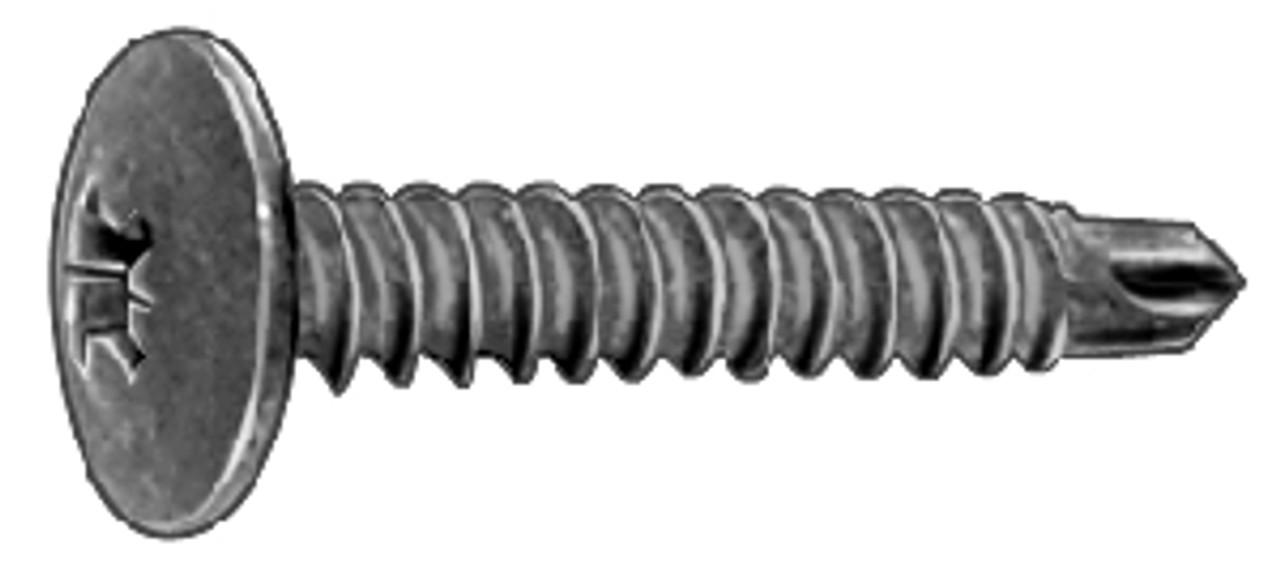 """M4.2 - 1.41 x 25mm (#8 x 1""""); 11mm 7/16"""" O.D Washer Head Pozi-Drive With Teks Point Phosphate 100 Per Box Click Next Image For Screw Detail"""