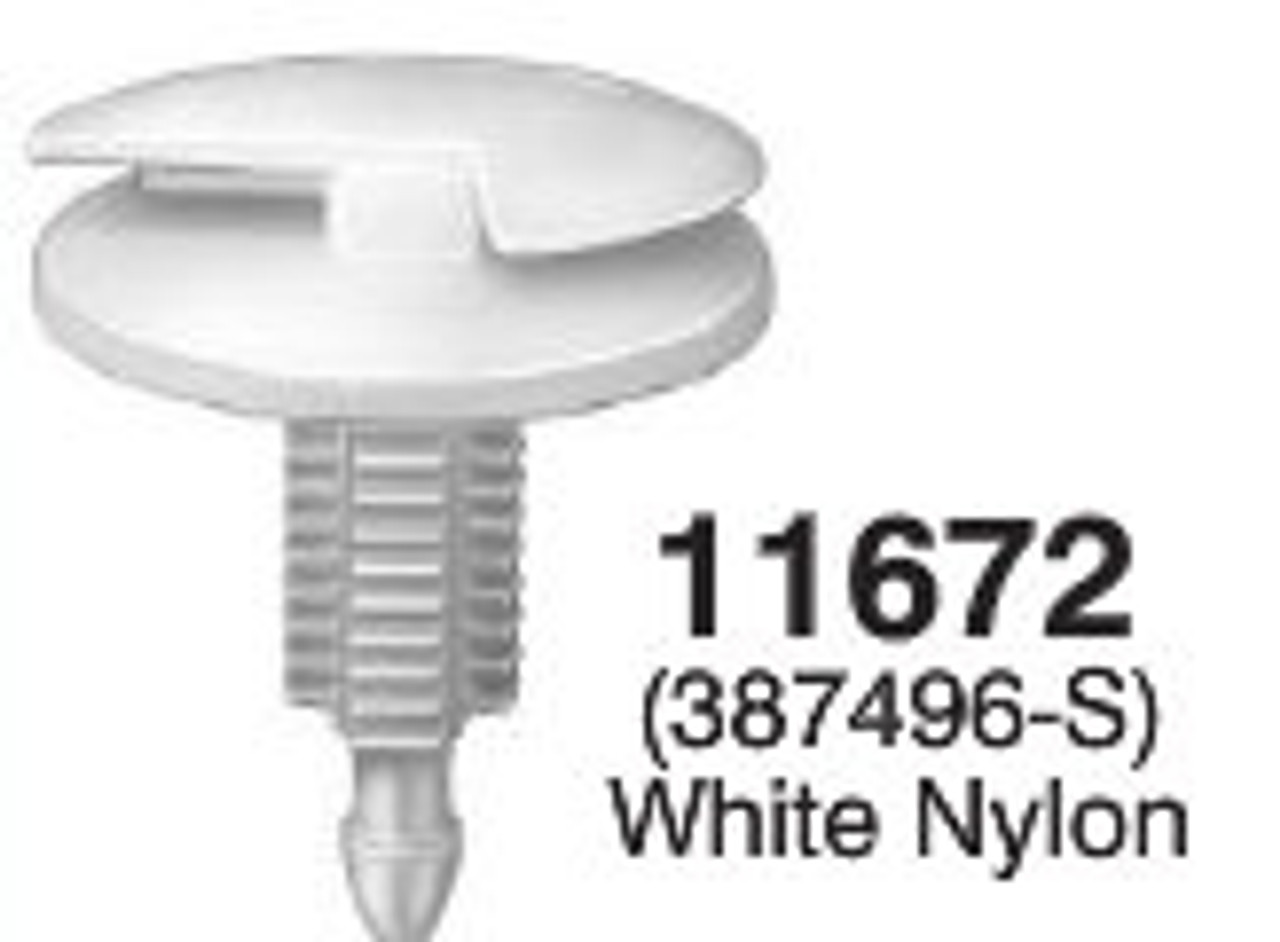 "Trim Panel Retainer Ford 1976-On Head Diameter: 15/16 Length 5/16"" OEM# 387496-S White Nylon 25 Per Box Click Next Image For Clip Detail"
