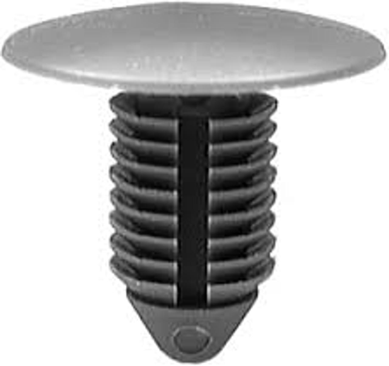 "GM Front End Stone Shield Retainer 1981-On Head Diameter: 7/8"" Stem Diameter: 7/16"" Stem Length: 13/16""  OEM# 22512276 Black Nylon 25 Per Box Click Next Image For Clip Detail Same As Auveco 16262 (50 Per Box)"