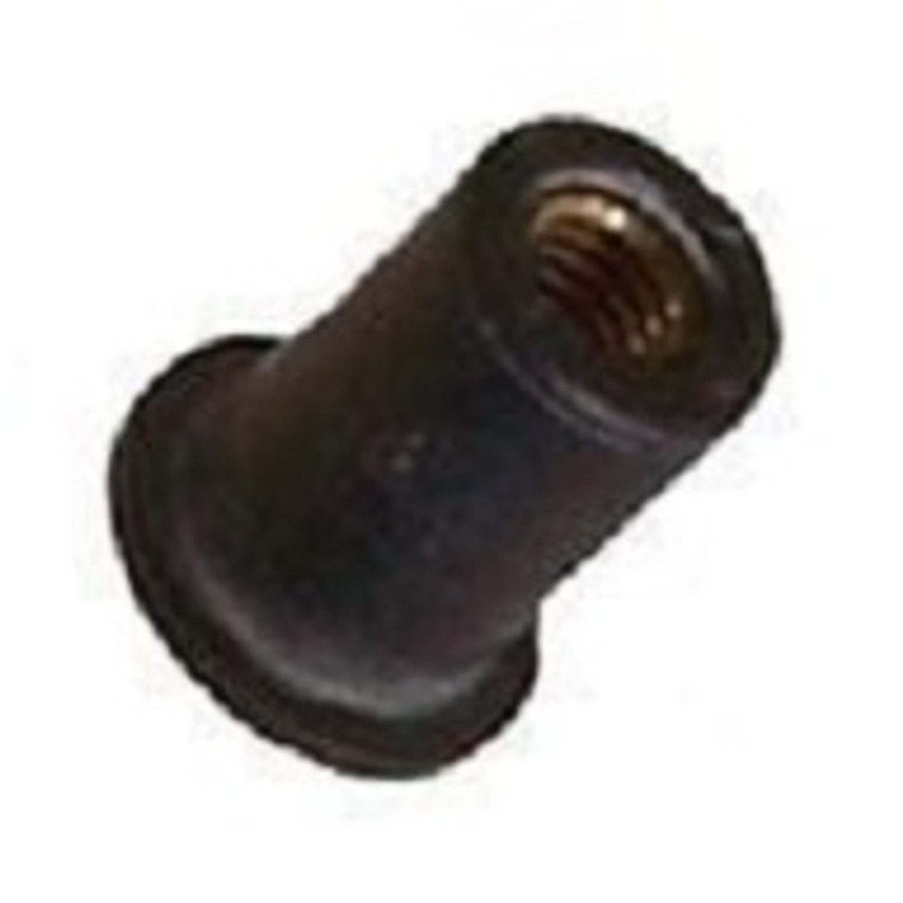 """Well Nut #8 -32 Thread Size Range: .015"""" - .156"""" Material: Neoprene With Captive Brass Nut Chrysler OEM#: 6026166 GM OEM#: 347065 Rear Compartment Cover Support 25 Per Box Click Next Images For Well nut Size Charts"""