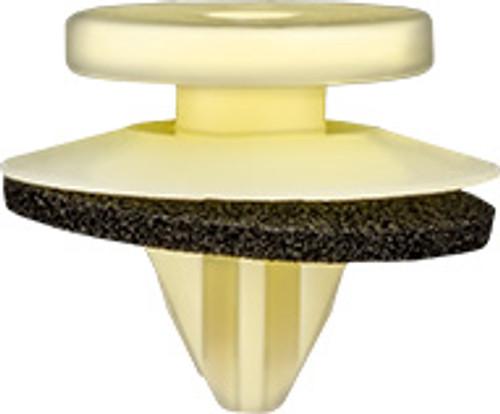 Wheel Arch Cover Retainer With Sealer Top Head Diameter: 12mm Bottom Head Diameter: 16mm Pale Yellow Nylon Stem Diameter: 8mm Stem Length: 8mm Mitsubishi Montero 2001 - On Outlander 2015 - On Mitsubishi OEM# MR489986 15 Per Box