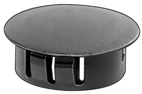 "Hole Size: 5/16"" Max. Thickness: 1/16"" Head Diameter: 3/8"" Nylon Locking Hole Plugs Black Nylon 50 Per Box See Next Image For Plug Size Chart"