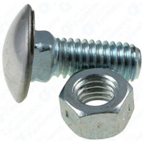 """3/8""""-16 x 7/8"""" Stainless Steel Cap Round Head Bumper Bolts with Hex Nuts Zinc 25 Per Box Click Next Image For Body Bolt Spec Chart"""