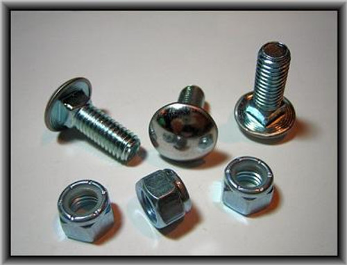 """3/8""""-16 x 7/8"""" Stainless Steel Cap Round Head Bumper Bolts with Lock Nuts Zinc 25 Per Box Click Next Image For Bumper Bolt Spec Chart"""
