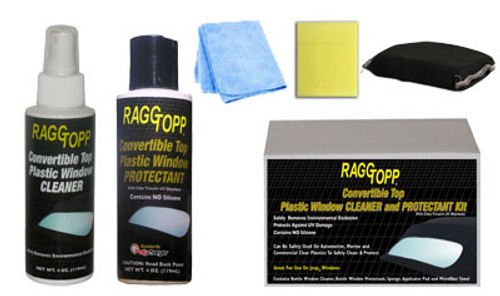 Contains Bottle Window Cleaner, Bottle Window Protectant, Sponge, Applicator Pad and Microfiber Towel