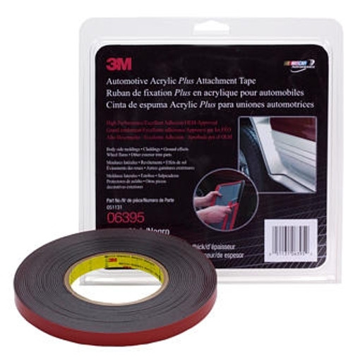 3M 6395 Automotive Acrylic Plus Attachment Tape Black, 7/8 in x 10 yd, 60 mil