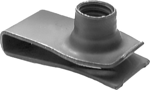 "Extruded U Nut GM, Ford 5/16""-18 Hole Center To Edge: 27/32"" Panel Range: .025"" - .150"" OEM# 1494258, 379831-S Black Phosphate 25 Per Box Click Next Image For Nut Detail"