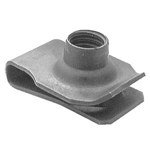 """Extruded U Nut Ford, GM Screw Size: 3/8""""-16 3/4"""" Hole Center To Edge .050"""" - .200 OEM# 1494254, 12337873, 45265-S2 Black Phosphate 25 Per Box Click Next Image For Nut Detail"""