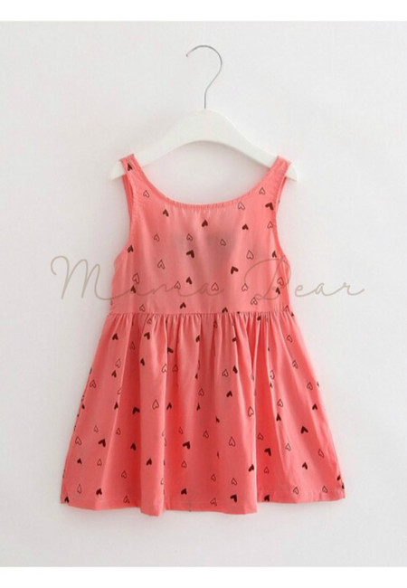 Little Heart Print Sleeveless Dress