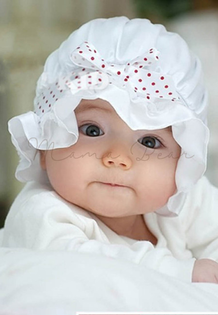 Purity Baby Cap with Red Polka Ribbon