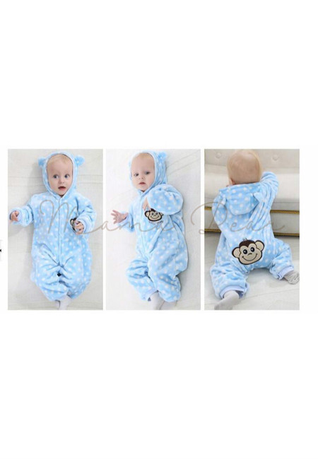 Blue Girly Monkey Baby Onesies