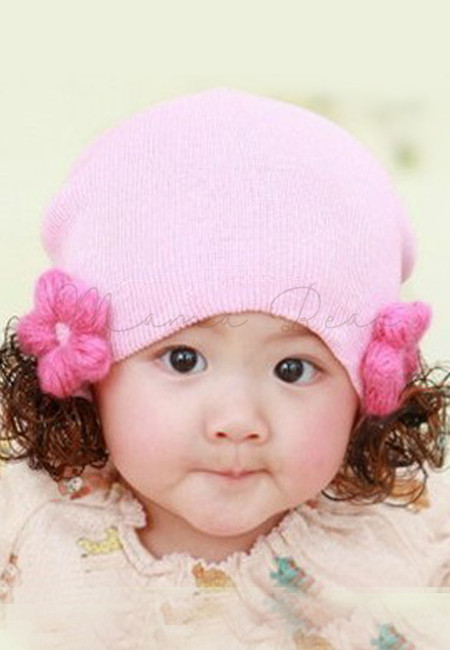 Flower with Synthetic Hair Beanie