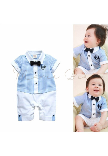 Casual Stripes w/ Bow Tie Babysuit