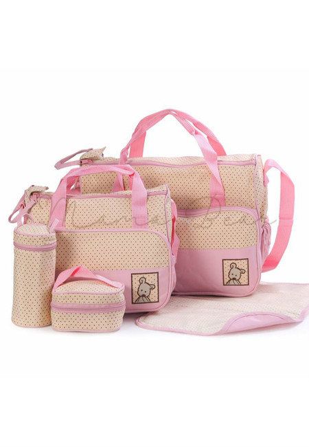 5 in 1 Baby Changing Diaper Nappy Bag Set  (Pink)