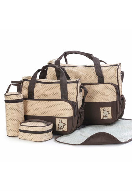 5 in 1 Baby Changing Diaper Nappy Bag Set (Brown)