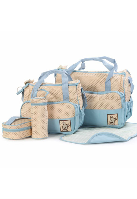 5 in 1 Baby Changing Diaper Nappy Bag Set  (Light blue)