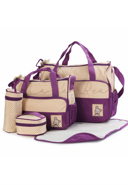 5 in 1 Baby Changing Diaper Nappy Bag Set (Violet)