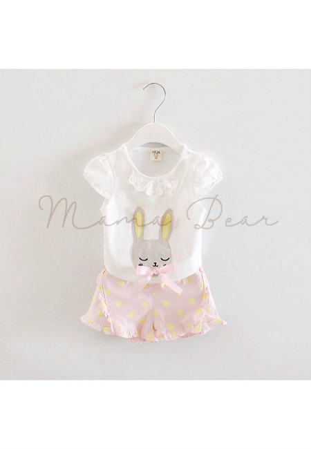 Sleeping Rabbit Top And Polka Shorts Clothing Set