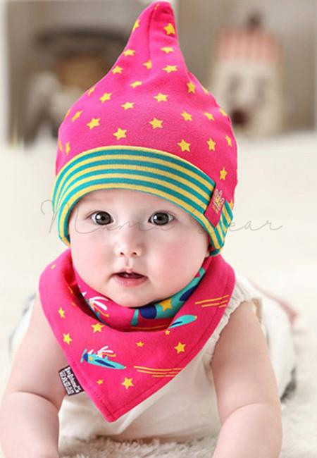 Stars Design Baby Hat + Bib