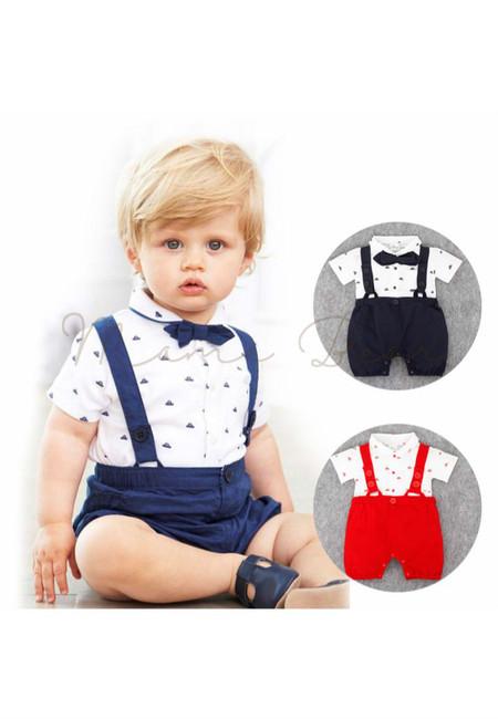 Little Boat Print Suspender Baby Romper